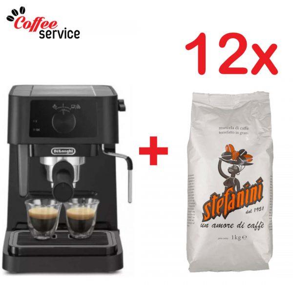 Комплект кафемашина Delonghi EC 230.BK + 12 кг. Stefanini Silver