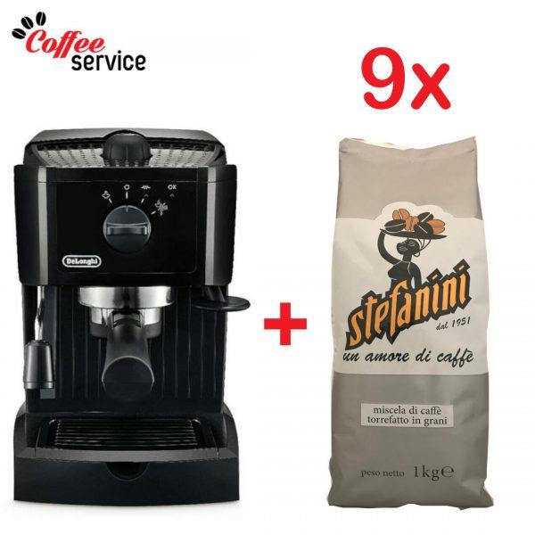 Комплект кафемашина Delonghi EC 146.B + 9 кг. Stefanini Silver